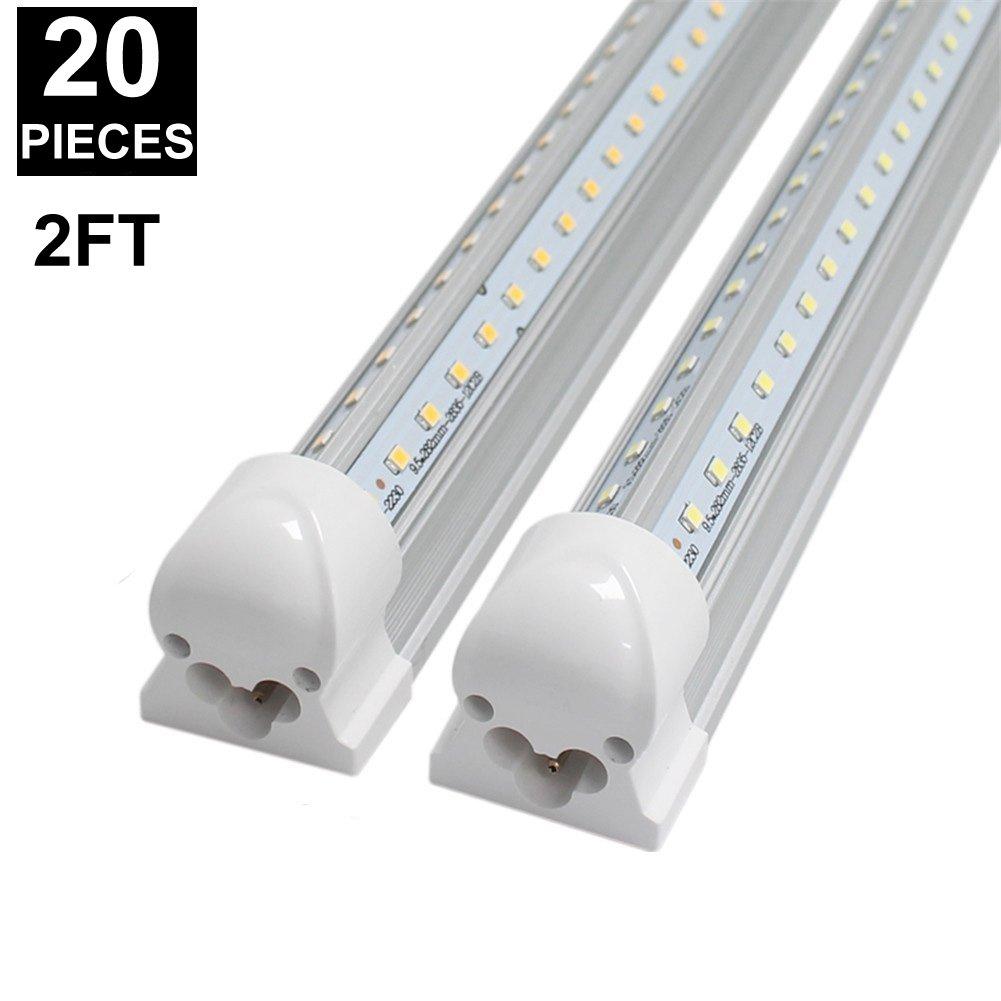 CNSUNWAY 2ft 14-Watt LED Tube Lights, Dual-sided V Shape Integrated, AC85-265V, SMD2835 Clear Cover, Cool White 6000K, LED Cooler Door Lights (20-Pack)