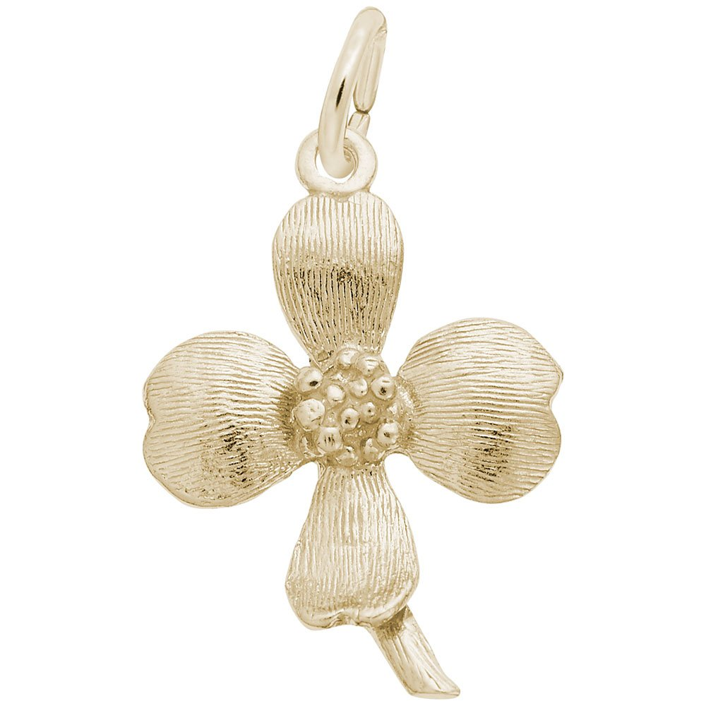 10k Yellow Gold Dogwood Charm Charms for Bracelets and Necklaces