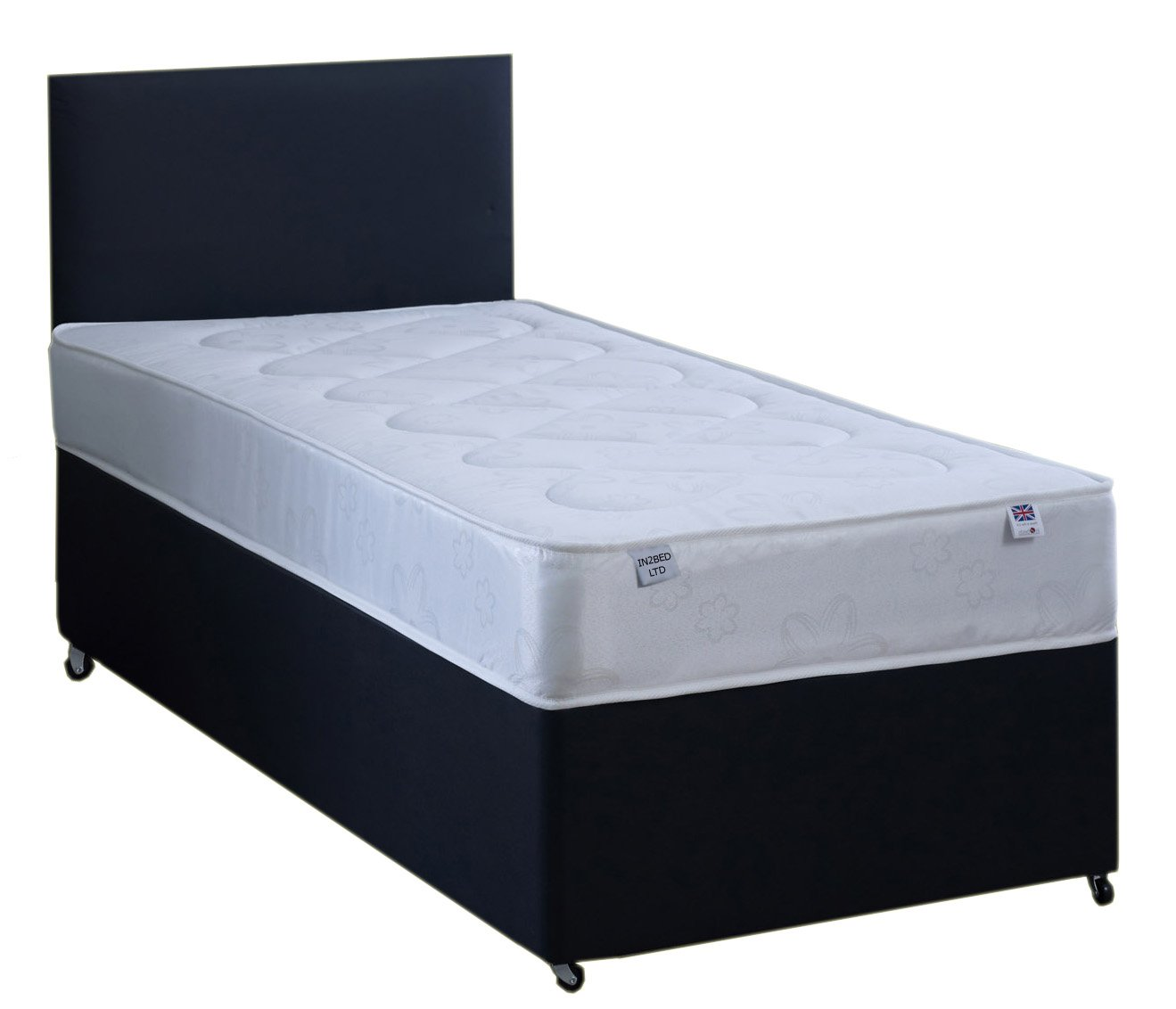 3FT Single Black Faux leather Divan Bed Set Including Deep Quilt Mattress And Headboard In2Bed LTD
