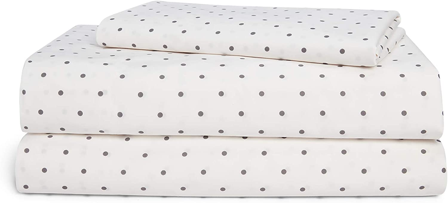 Chaps Home DELAFORD DOT 60% Cotton/40% Poly Printed Sheets-200 Thread Count Bed Sheet Set-15 Inches Deep Pocket (King), King, Cream and Taupe