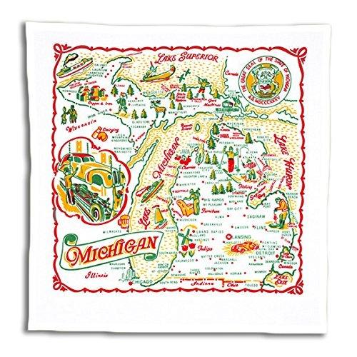 State Dish Towel - Red & White Kitchen Michigan Map Kitchen Dish Towel - State Souvenir Vintage Retro MI01-RWK