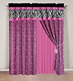 Hot Pink and Black Shower Curtain 4 - Piece Rod Pocketed HOT PINK Black White Zebra Leopard Micro Fur curtain set Drapes / Window Panels 120