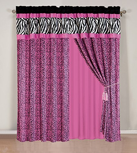 4 – Piece Rod Pocketed HOT PINK Black White Zebra Leopard Micro Fur curtain set Drapes / Window Panels 120″ Wide X 84″ Tall