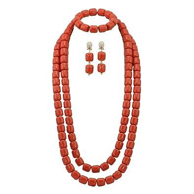 AfricanBeads 1 Row Orange Nigerian Wedding African Beads Jewelry Set Coral,African Coral Beads Jewelry Set