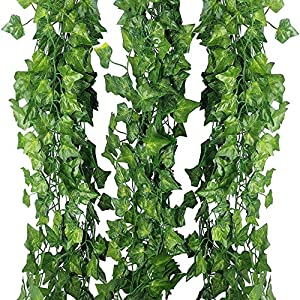 Artificial Hanging Plant 80ft-12strands Silk English Ivy Vine Garland Arrangement Faux Fake Flower Green Leaves Wreath Home Kitchen Indoor Outside Garden Office Wedding Wall Banister Decor 3