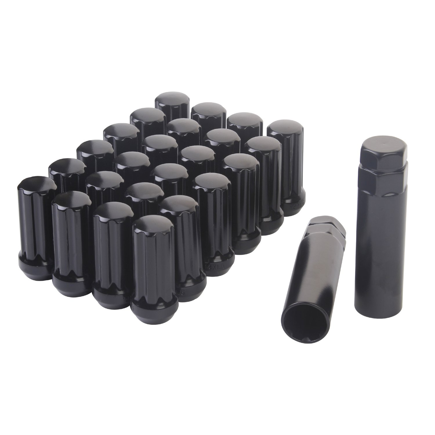 HanAuto Black Lug Nuts with 2 KEY (14mm x 1.5 Thread Size) - Pack of 24 Wheel Lug nuts, 75114K242