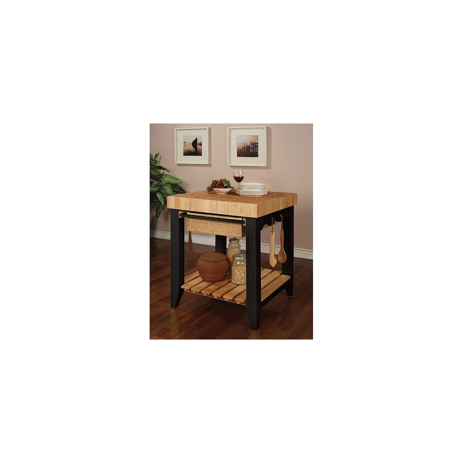 Kitchen Island Table Wood Butcher with Block Top, Black and Natural Finish