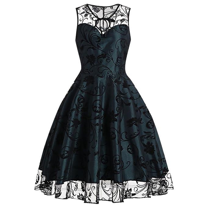 Vestido midi DressLily de tul, estilo vintage floral, sin mangas, para mujer Blackish