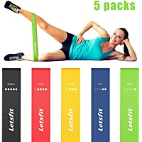 "Letsfit Resistance Loop Bands, Resistance Exercise Bands for Home Fitness, Crossfit, Stretching, Strength Training, Physical Therapy, Natural Latex Workout Bands, Pilates Flexbands, 12"" x 2"""