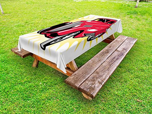 or Tablecloth, Classic Street Rod Car Surrounded by Vibrant Burst Dated Old Times Funk Graphic Print, Decorative Washable Picnic Table Cloth, 58 X 104 inches, Red Yellow ()