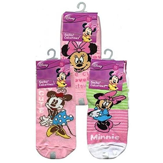 Disney Minnie 3-Pack Anklets Socks Size 6-8 1/2 Assorted Styles