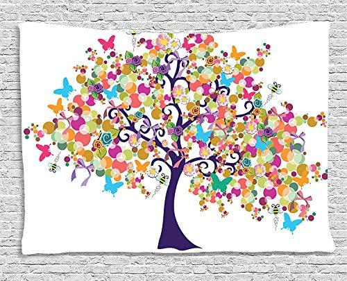 Ambesonne Tree of Life Tapestry, Abstract Ornate Spring Tree with Flowers and Butterflies Happy Spring Branches, Wide Wall Hanging for Bedroom Living Room Dorm, 60 X 40 , Indigo Magenta