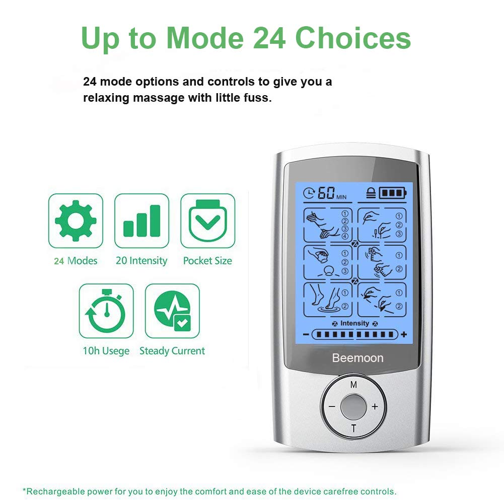 Tens Unit, Beemoon FDA Cleared Rechargeable Electronic Pain Relief Massager with 24 Modes and 6...