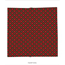 Custom printed Throw Blanket with Geometric Traditional Scottish Plaid Pattern Tartan Tile Checked Striped Retro Print Red Black Yellow Super soft and Cozy Fleece Blanket