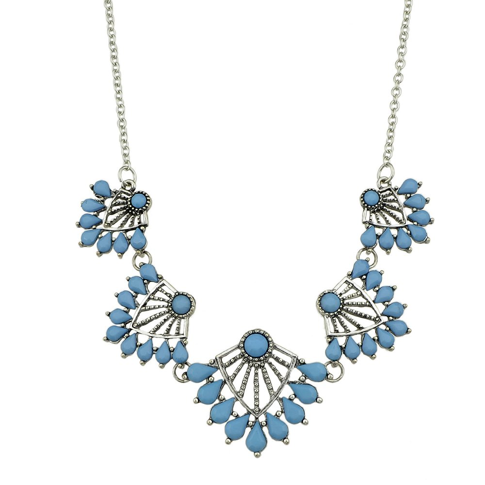 Feelontop Silver Color Chain Blue Bead Flower Collar Maxi Necklace Female Accessories with Jewelry Pouch