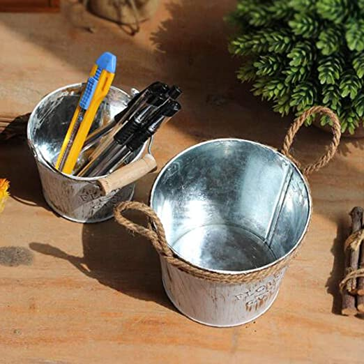 CUTICATE 2 Piezas De Cubos De Hierro Rústicos Vintage Macetas Elegantes Lamentables Para El Jardín De Su Casa: Amazon.es: Jardín