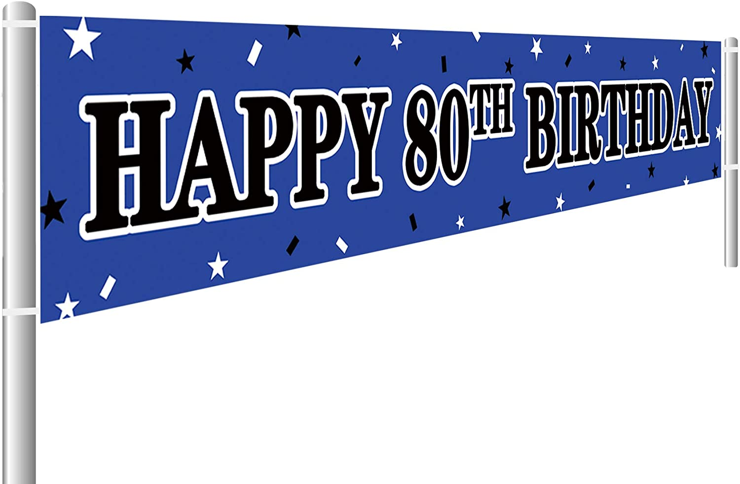 Large Blue Happy 80th Birthday Banner, 80th Birthday Party Sign, 80th Birthday Party Supplies Decorations (9.8 x 1.6 ft)