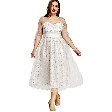 DEZZAL Womens Plus Size 3/4 Sleeve Sheer Floral Embroidered Tulle Prom Dress (White