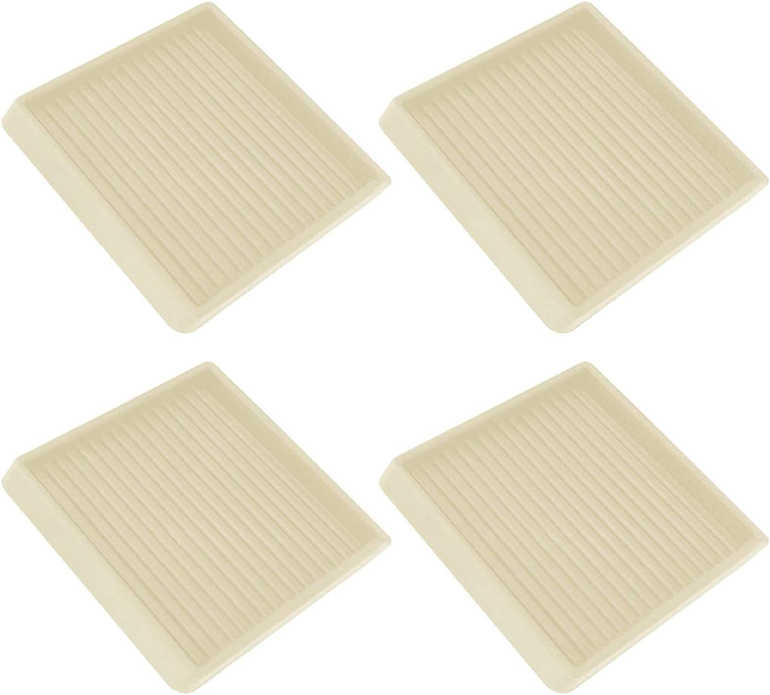 Furniture Caster Cup 4pcs Square Rubber Leg Accessories Home Non Slip Protective 3 Inch Scratch Proof sliding Table Chair Floor Grip(Beige)