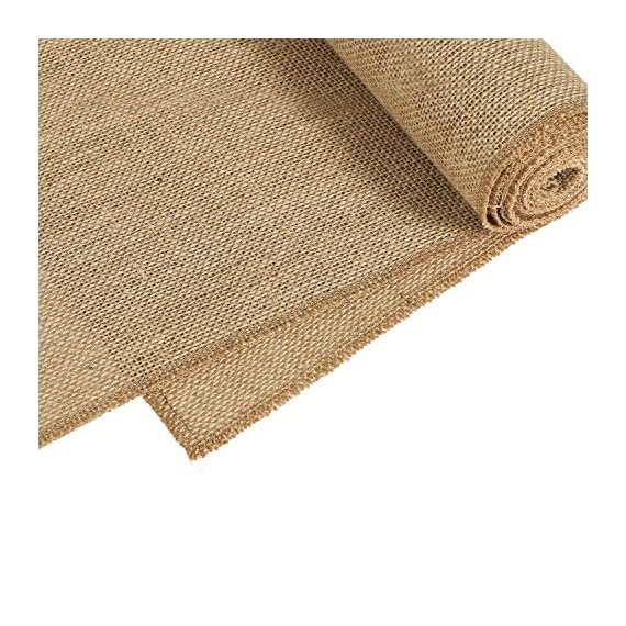 """Ling's moment 12 x 108 Inches Jute Farmhouse Table Runner Burlap Table Decor Bamboo for Winter Rustic Wedding… - STRONG DURABLE: Crafted out of light tan artificial jute hessian, no smell, It does not shed. Perfect for thanksgiving Christmas. This also ensures that they are durable. EXTRA LONG: Measuring 12"""" wide x 108"""" long, these burlap fabric table runners for parties are perfect for displaying on banquet tables, candy buffet tables, dining tables and more for most special occasions, including Christmas, Valentine's Day, St. Patrick's Day, Easter, Thanksgiving and Halloween. FRAY-RESISTANT: Tightly hemmed, the hessian table runner does not fray. This means you can use it again and again, special event after special event! - table-runners, kitchen-dining-room-table-linens, kitchen-dining-room - 61i00E6BaPL. SS570  -"""