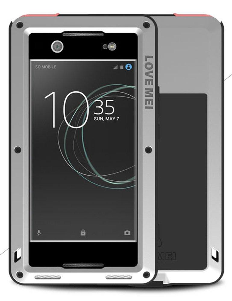 LOVE MEI Heave-Duty Case for Sony Xperia XA1 Ultra (6 inch), Waterproof Shockproof Dustproof Aluminum Metal with Tempered Glass Cover SilverTwo-Years Warranty