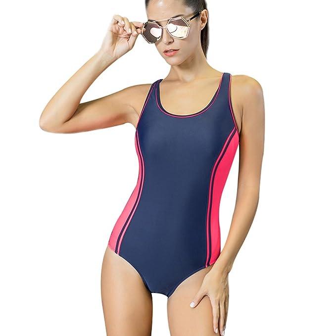 f4696dba5fc7 Selighting Bañadores de Mujer Natación Competicion Trajes De Baño Una Pieza  de Poliéster Elástico Disminuye Resistencia de Agua para Playa y ...