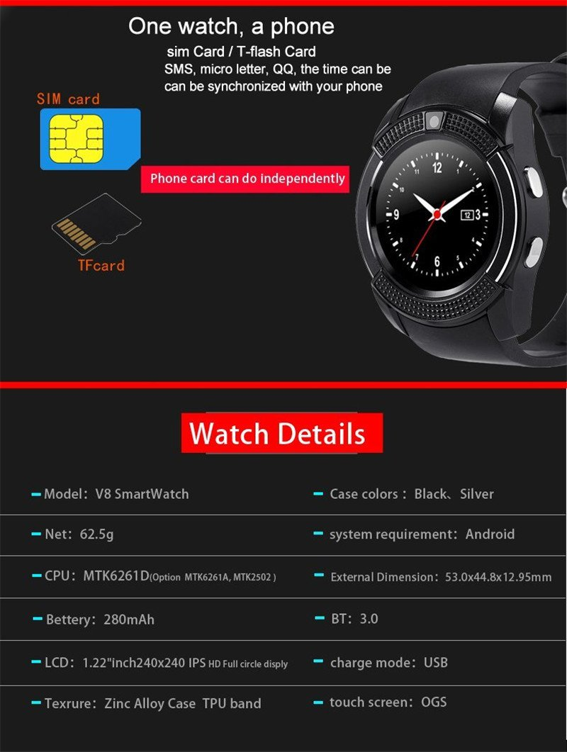 Bluetooth Smart Watch,Wrist Watch Bracelet with SIM Card Slot Camera Phone  Calls Pedometer Music Playing Alarm Clock Smartwatch for Android Phone