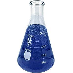 2000ml Narrow Mouth Erlenmeyer Flask, 3.3 Borosilicate Glass, Karter Scientific 213G15 (Single)