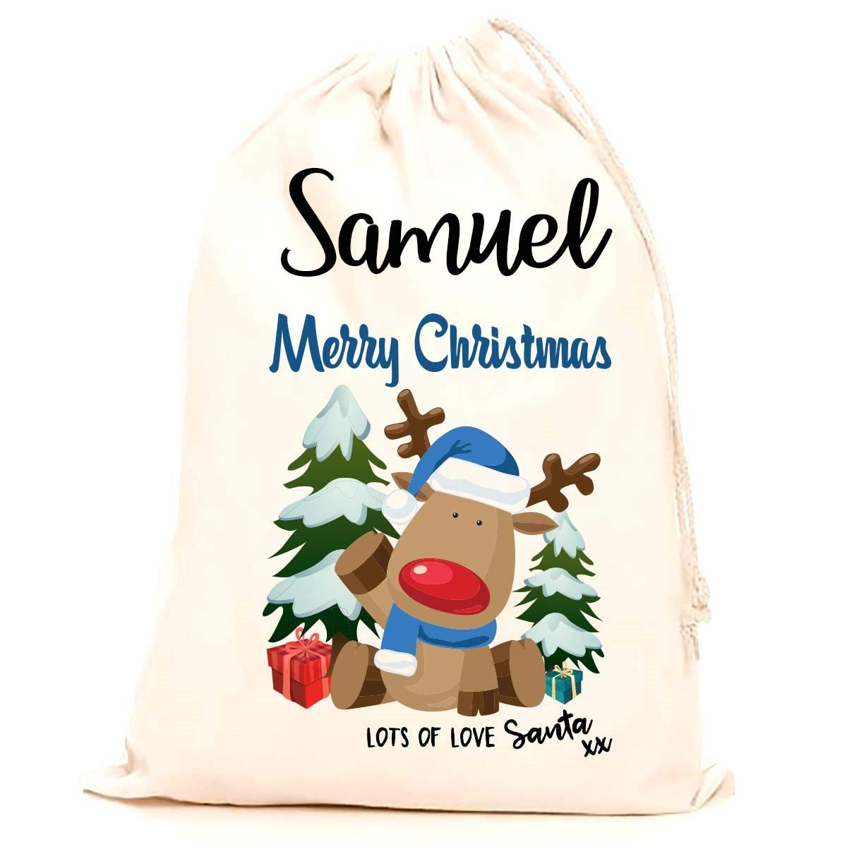 Treat Me Suite Samuel personalised name Christmas santa sack, stocking printed with a blue reindeer (75x50cm) 100% Cotton Large. Children, Kids, making it the perfect keepsake xmas gift/present. CS Printing Limited