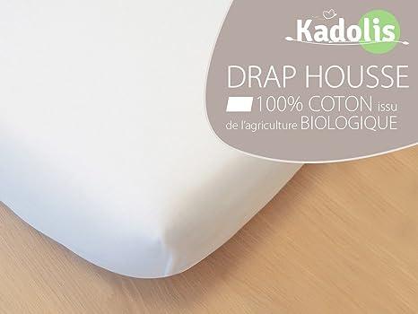 Drap Housse Coton Bio 90x190 - coloris au choix Blanc  Amazon.fr ... 1b2312ddea3f