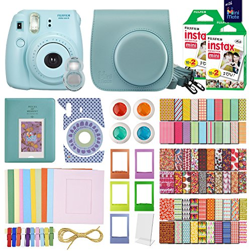 MiniMate FujiFilm Instax Mini 8 Camera with 40 Instax Film and Accessory Bundle, Blue by MiniMate