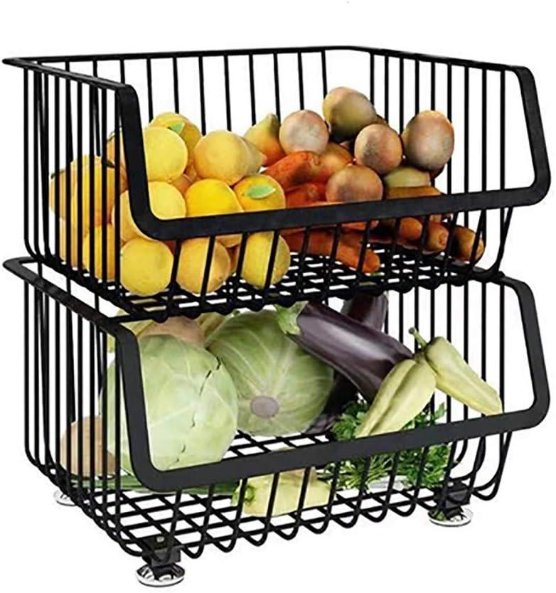 Size : 2 Layers Cvghnfk Estante m/óvil Negro Estante de la Cocina de Muchas Capas m/últiples Funciones de Frutas y Verduras Cesta de Almacenamiento montada en el Piso m/óvil Inicio Bastidores