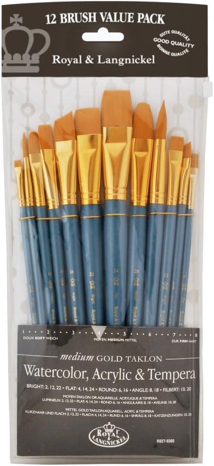 Royal & Langnickel Set de brochas, de taklon, Medio (12 Piezas) Color Dorado: Amazon.es: Oficina y papelería