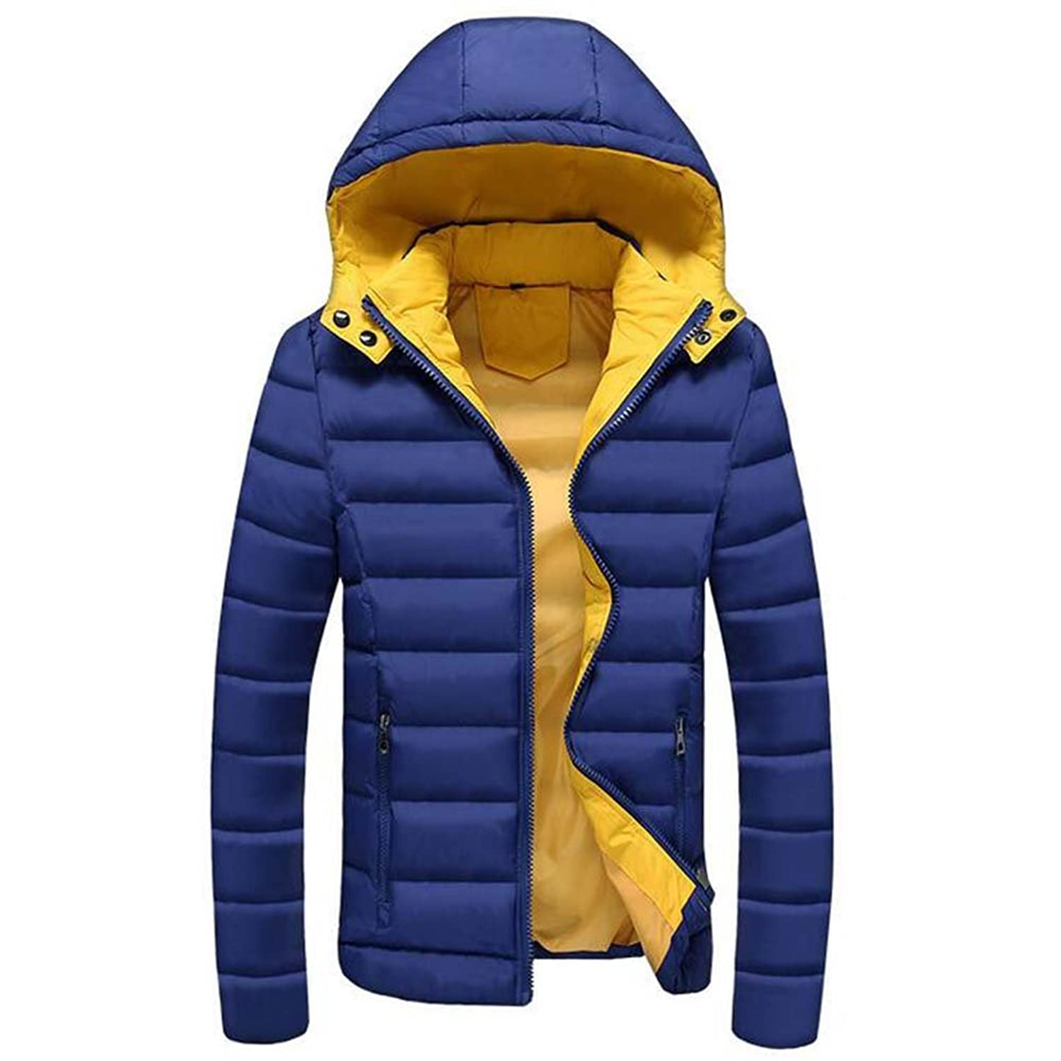 hibote Man Jacket Classical Warm Men Jacket Zipper Hat Detachable Coat Dark Blue 3XL