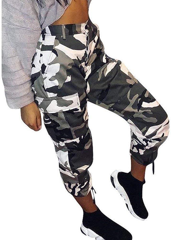 Mujer Pantalon Militar Anchas Fashion Hip Hop Estilo Pantalon Cargo Talla Grande Elegantes Cintura Alta Basicas Con Bolsillos Vintage Chic Pantalones De Tiempo Libre Pantalones Harem Disfraz Amazon Es Ropa Y Accesorios