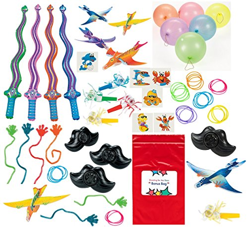 Toy Assortment 130 Pc Boy's and Girl's Dinosaur Airplanes, Punch Balls, Sticky Hands, Swords, Tattoos, Bracelets, Mustache Whistles and other small Toys