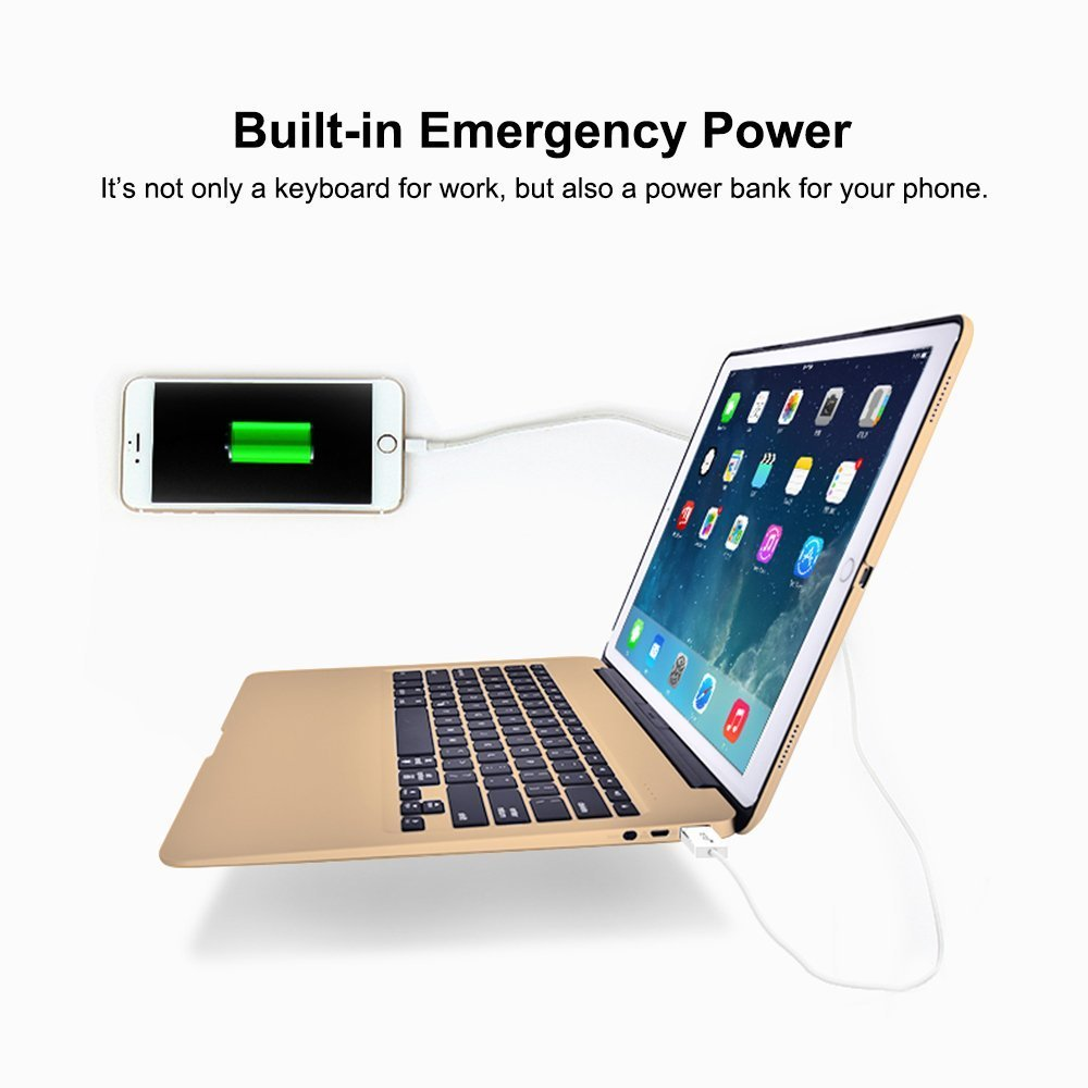 HIOTECH iPad Pro 12.9 Keyboard Slim Aluminum Wireless Keypad with 7-color LED Backlit & Built-in 5600mAh Power Bank for iPad Pro 12.9 (gold) by HIOTECH (Image #3)