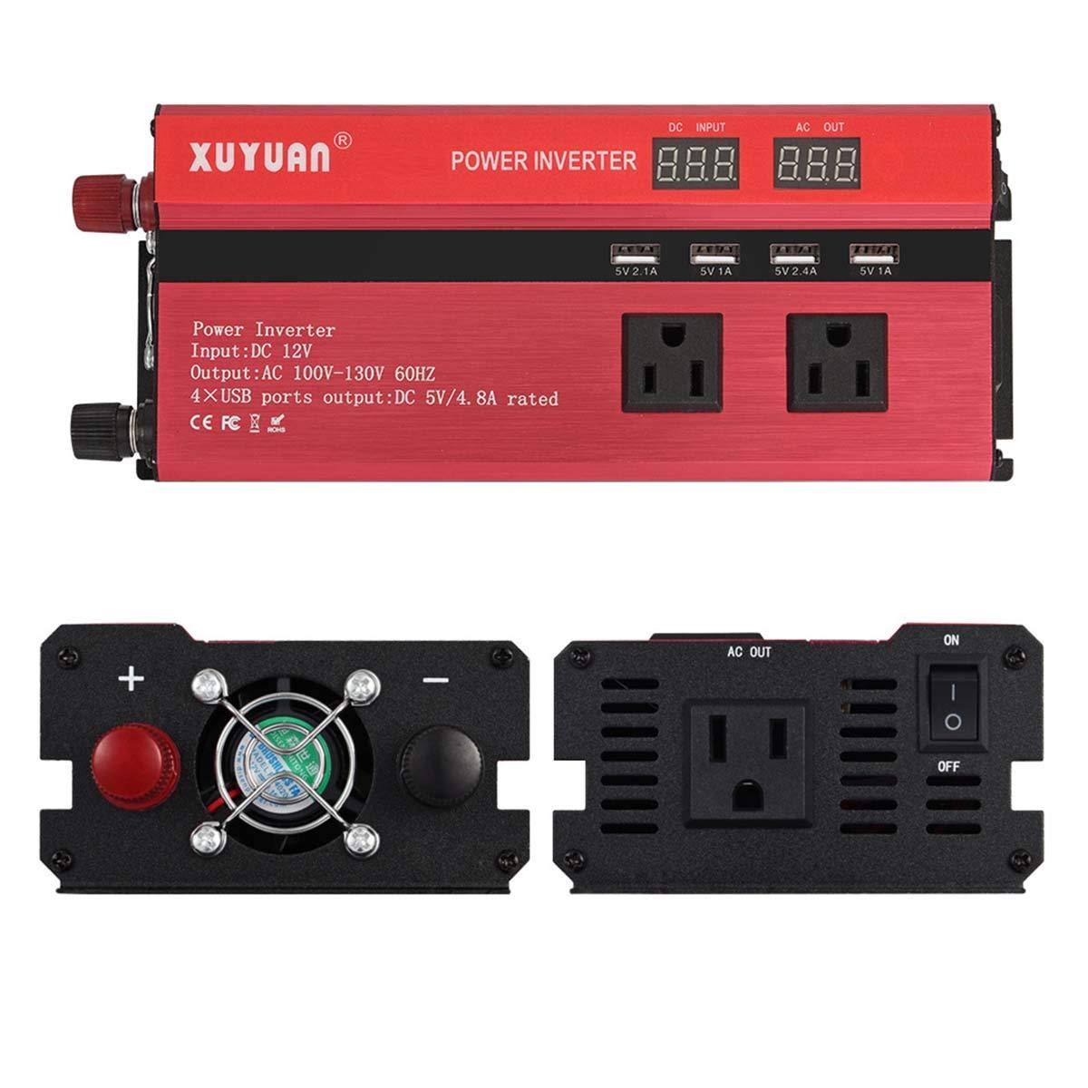 Color : 110V//3000W Nosii 3000W 220V Convertidor de Onda sinusoidal con Pantalla Digital 4 Puertos USB 5000W Inversor de Corriente para autom/óvil DC 12V A CA 110V 4000W