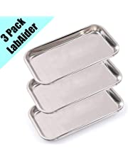 3 Pack Professional Medical Surgical Stainless Steel Dental Procedure Tray Thickening Lab Instrument Tools Trays -Flat Type