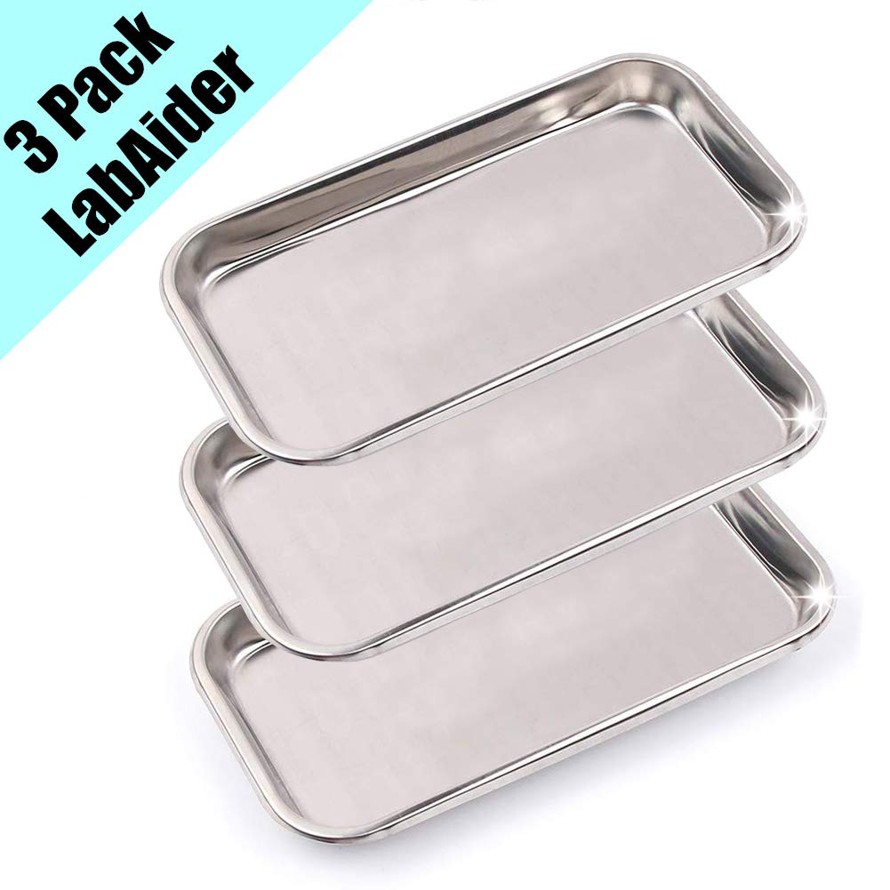 3 Pack Professional Medical Surgical Stainless Steel Dental Procedure Tray Thickening Lab Instrument Tools Trays -Flat Type by LabAider