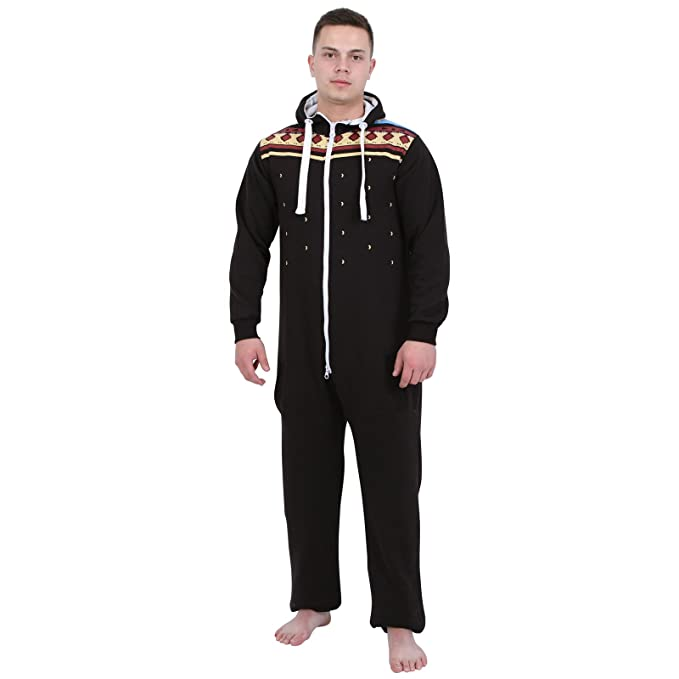 b052b024b406 Size Adult Hooded Onesie for Men Women Teens Black With Geometric Print  Design