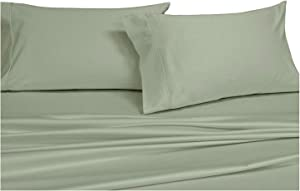Royal's Solid Sage 1000-Thread-Count 4pc King Bed Sheet Set 100-Percent Cotton, Sateen Solid, Deep Pocket