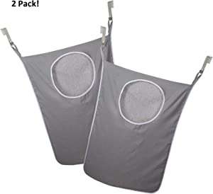 LaundryMate Hanging Laundry Hamper with 2 Stainless Steel Hooks each, Space-Saver With Zippered Bottom for Easy Access LM-3132, 2 Pack