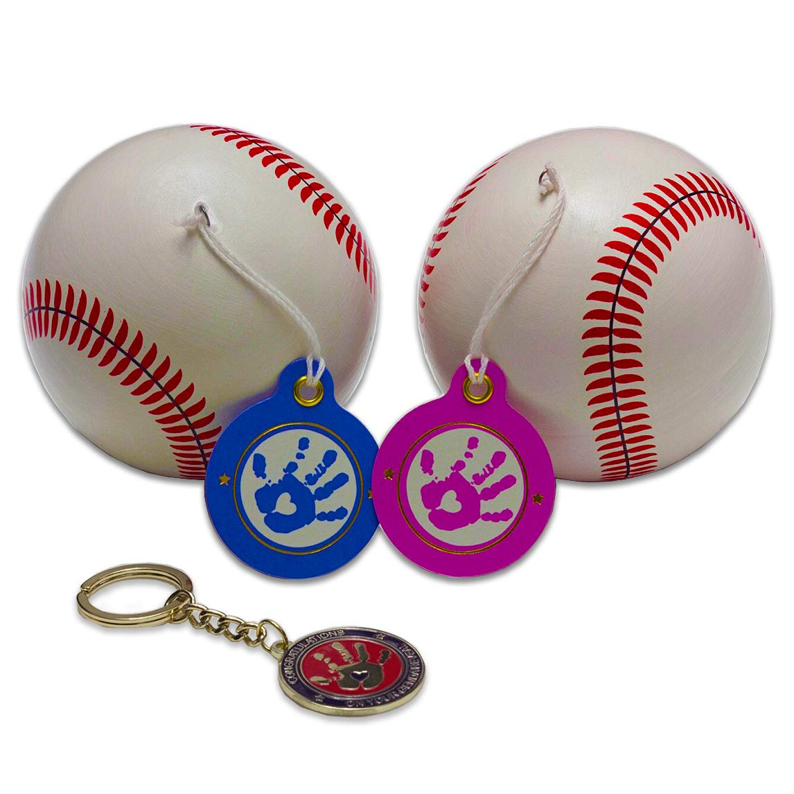 GendaGuru Premium Gender Reveal Baseball Set Bonus Keepsake | 2 x Exploding Baseballs with Extra Pink and Blue Powder | Baby Shower Gender Reveal Party Supplies | Team Boy Or Girl 輸入品