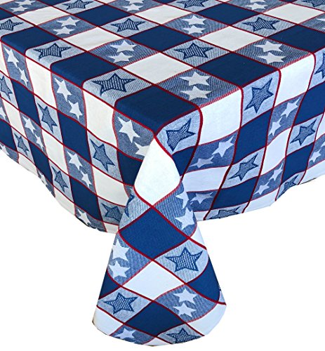 Lintex Americana Patriotic Star and Stripes Cotton Jacquard Weave Fabric Tablecloth, Indoor Outdoor Memorial Day, 4th of July, Labor Day Tablecloth, 60