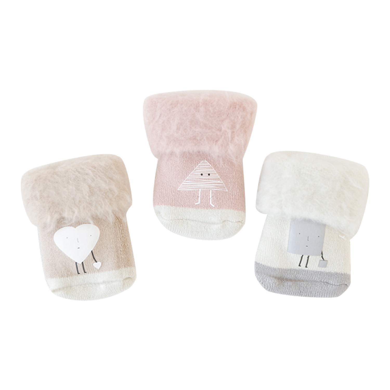 De feuilles Lot de 3 Chaussettes Basse en Coton Bébé Fille Garçon Motif Imprimé Chaussette Souple Confortable pour Enfants 1 ans à 5 ans