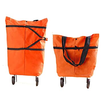 Amazon.com: Lightweight Collapsible Foldable Rolling Shopping Bag ...