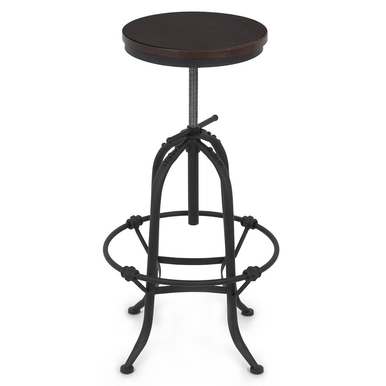 Wood Seat Bar Stool Part - 42: Amazon.com: Belleze Vintage Bar Stool Industrial Rustic Style Wood Seat  Adjustable Height Swivel Top: Kitchen U0026 Dining