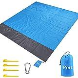 Poit Large Packable Picnic Mat Blanket, Camping Mat Blanket, Outdoor Blanket Mat, Beach Blanket Mat, 79''×83''