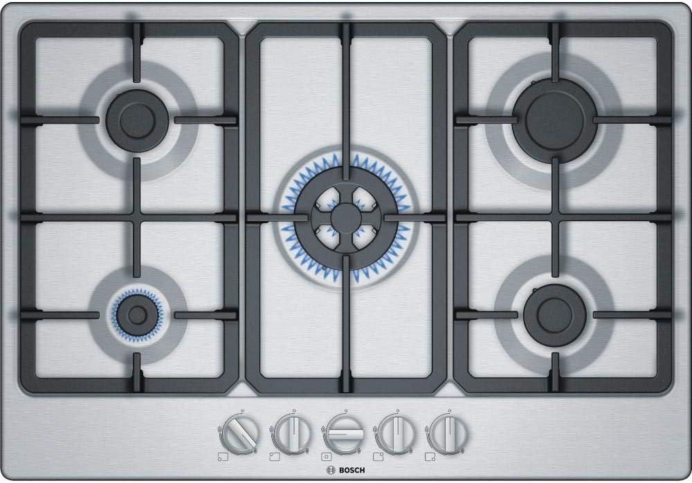 Bosch Placa de gas con 5 campos de calefacción PGQ7B5B90, acero inoxidable